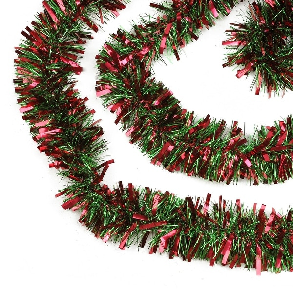 50' Festive Red and Green Thick Cut Christmas Tinsel Garland - Unlit - 6 Ply (Pack of 3)