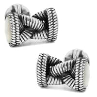 Sterling Silver Braided Rope Cufflinks Shell Inlay