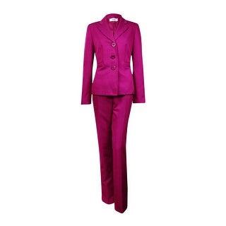 Le Suit Women's Quebec Notch Herringbone Pant Suit (4, Berry) - 4