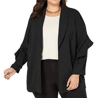 Link to Alfani Womens Jacket Black Size 1X Plus Flounce-Sleeve Open Front Similar Items in Women's Outerwear