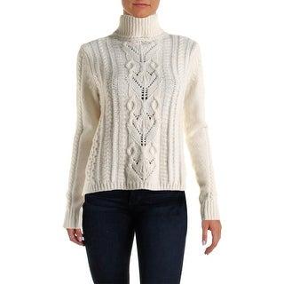 Joie Womens Irissa B Wool Cable Knit Turtleneck Sweater