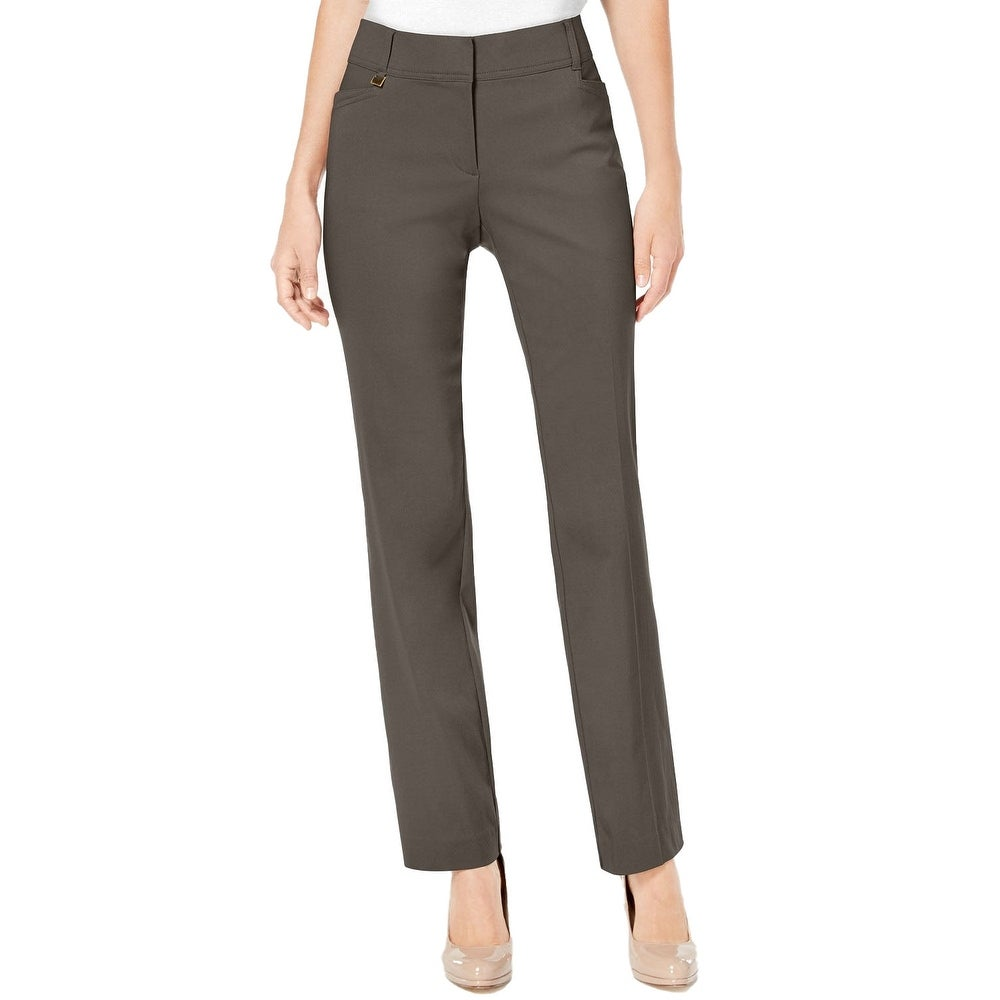 JM Collection Womens Regular Length Curvy-Fit Pants Brown Clay Size 6 inch