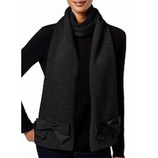 Kate Spade NEW Black Muffler Womens One Size Bow Ribbed Knit Scarf
