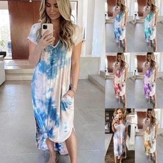Tie-Dyed Printed Side Split Long Maxi Dress