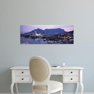 Easy Art Prints Panoramic Image 'Boats, Harbor, Table Mountain, Cape Town, South Africa' Canvas Art
