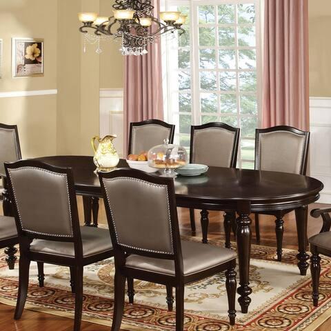 Furniture of America Harllington Walnut 98-inch Expandable Dining Table