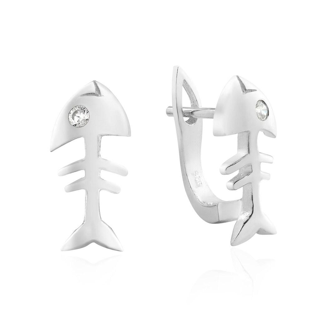 Fishbone Earring Cubic Zirconia Gemstone Drop Earring 925 Silver 14K Gold Plated