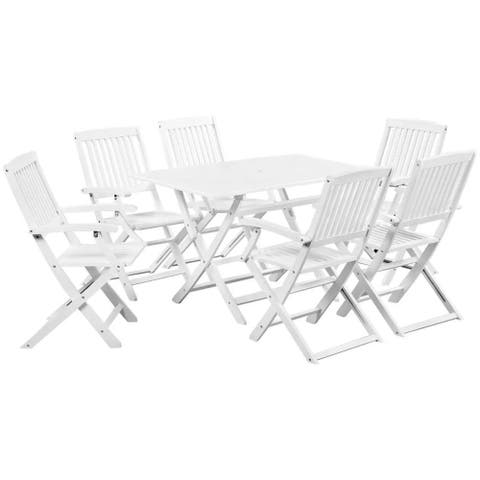 vidaXL Solid Acacia Wood 7 Piece Outdoor Dining Set White Garden Table Chair
