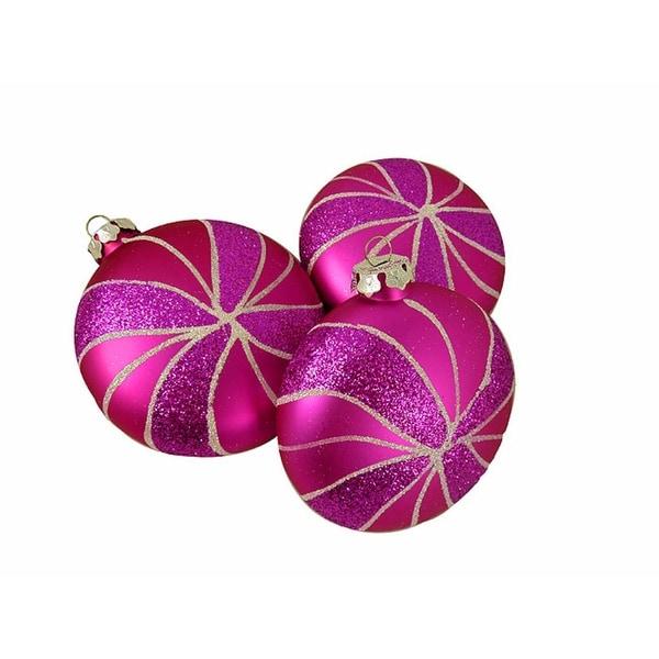 "3ct Candy Fantasy Shatterproof Matte Pink Magenta Swirl Christmas Ornaments 4"""
