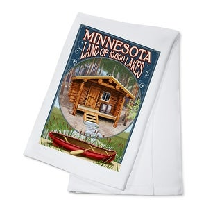 Minnesota - Cabin and Lake - Lantern Press Artwork (100% Cotton Towel Absorbent)