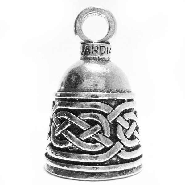 Guardian Bell Pewter Keychain Fob Zipper Pull - Celtic Border Design