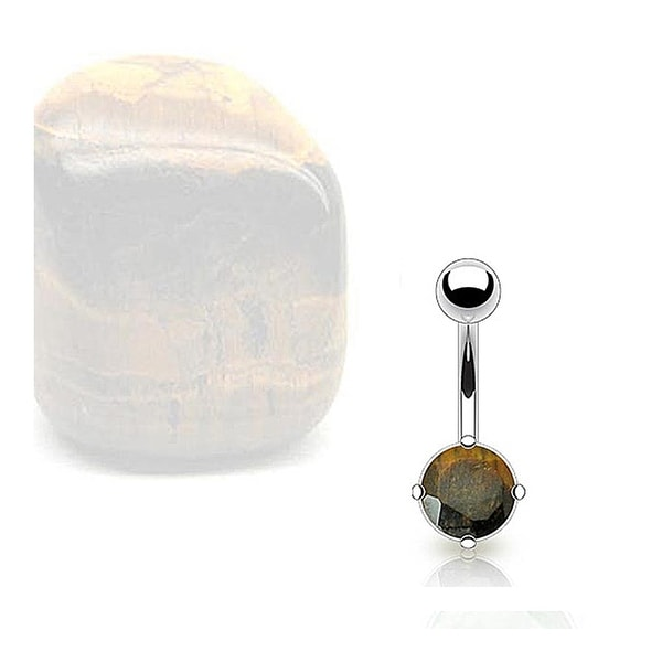 Stainless Steel Prong-Set Tiger Eye Semi Precious Stone Navel Belly Button Ring