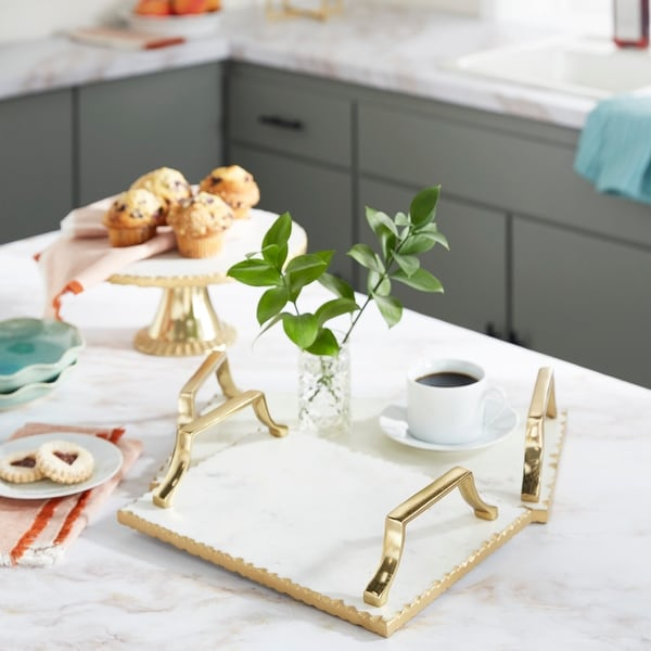 Gold Ceramic Glam Tray (Set of 2) - 16 x 10 x 3. Opens flyout.