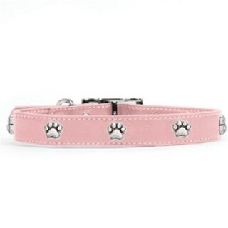 Rockinft Doggie 1 in. x 18 in. Leather Collar with Paw Rivets - Pink