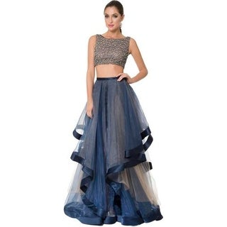 Terani Couture Crystal Prom Crop Top Dress