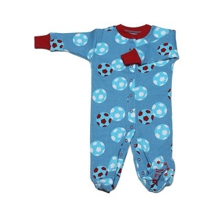 New Jammies Baby Boys Blue Red Soccer Ball Organic Cotton Footie Romper