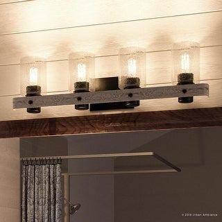 "Link to Luxury Modern Farmhouse Bathroom Vanity Light, 8.5""H x 32.875""W, with Rustic Style, Charcoal  Finish by Urban Ambiance Similar Items in Bathroom Vanity Lights"