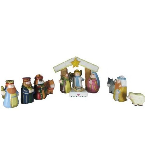 12-Piece Hand Carved Wooden Children's First Christmas Nativity Set