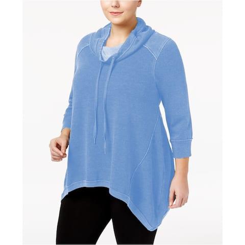 Calvin Klein Women's Cowl-Neck Handkerchief-Hem Top Marina Size Extra Large - Blue - X-Large