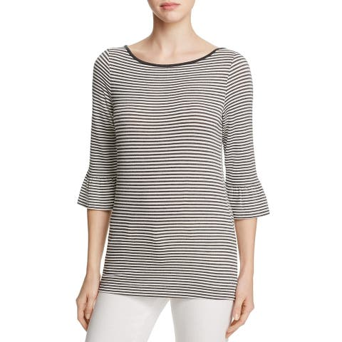 Three Dots Womens Casual Top Striped Bell Sleeve