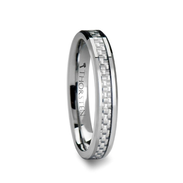 THORSTEN - ULTIMUS Beveled White Carbon Fiber Inlay Tungsten Band - 4mm