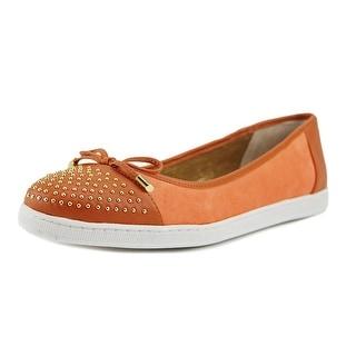 J. Renee Marenda Women W Round Toe Leather Orange Flats