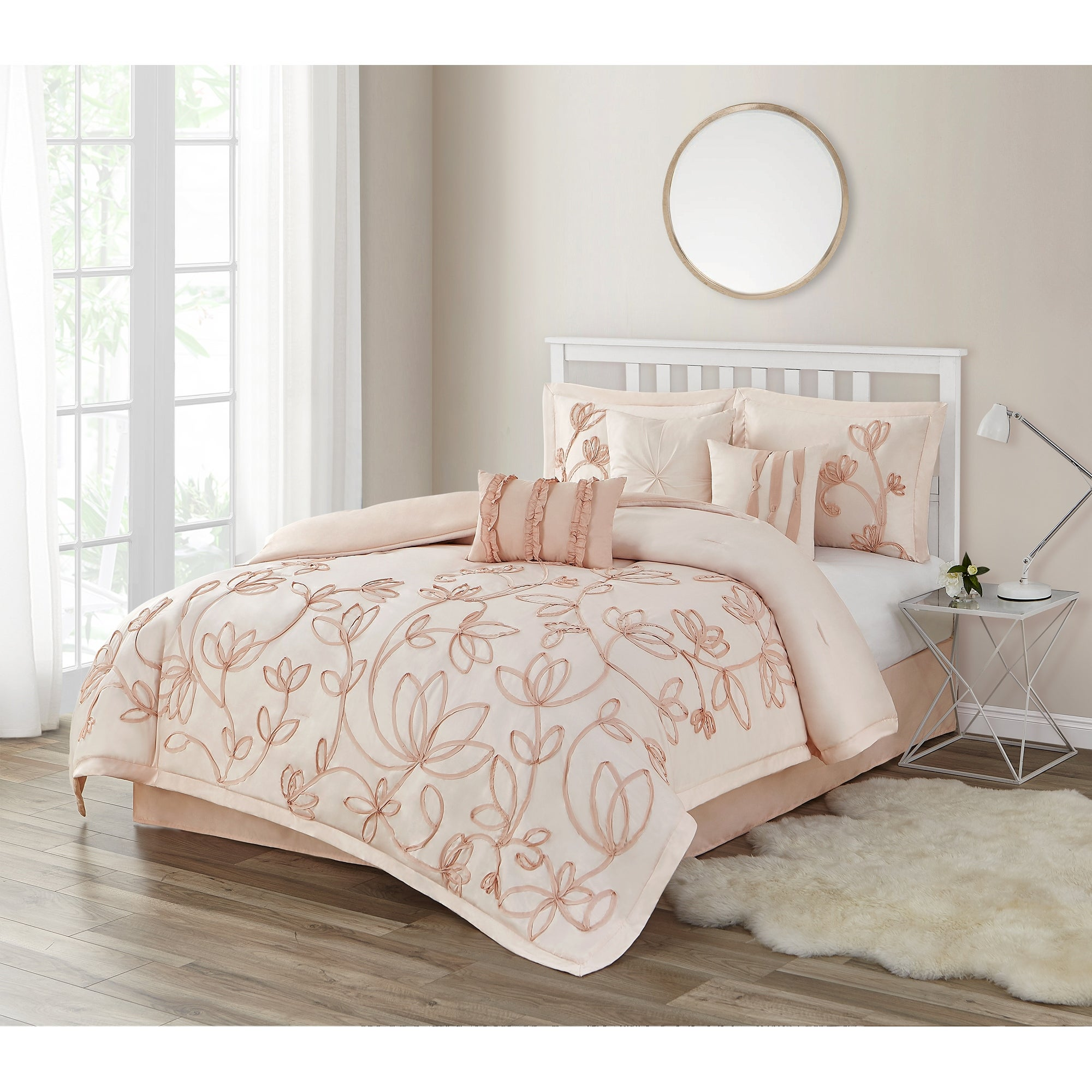 Peach Floral King Comforter Set Overstock 31275784