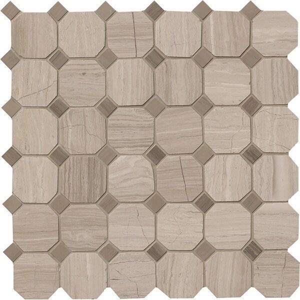 "MSI SMOT-2OCT White Oak - 2"" x 2"" Dot-Mounted Mosaic Tile - Honed Marble Visual - Sold by Carton (10 SF/Carton) - Gray"