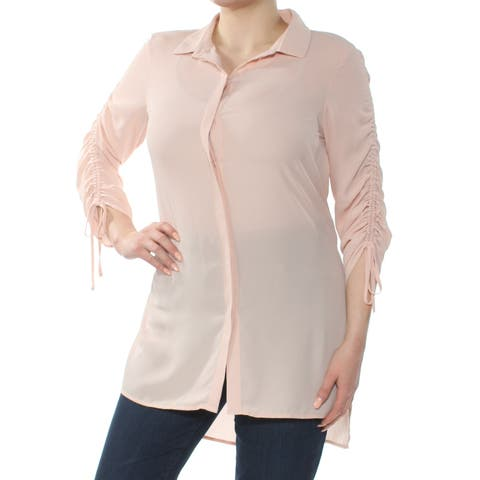 BAR III Womens Pink Ruched 3/4 Sleeve Collared Button Up Top Size: XL