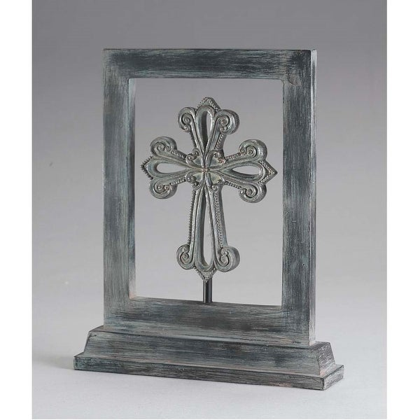 """We Open Our Home Table Top Gray Resin Cross; 5"""" x 4"""" - other-frame-size"""