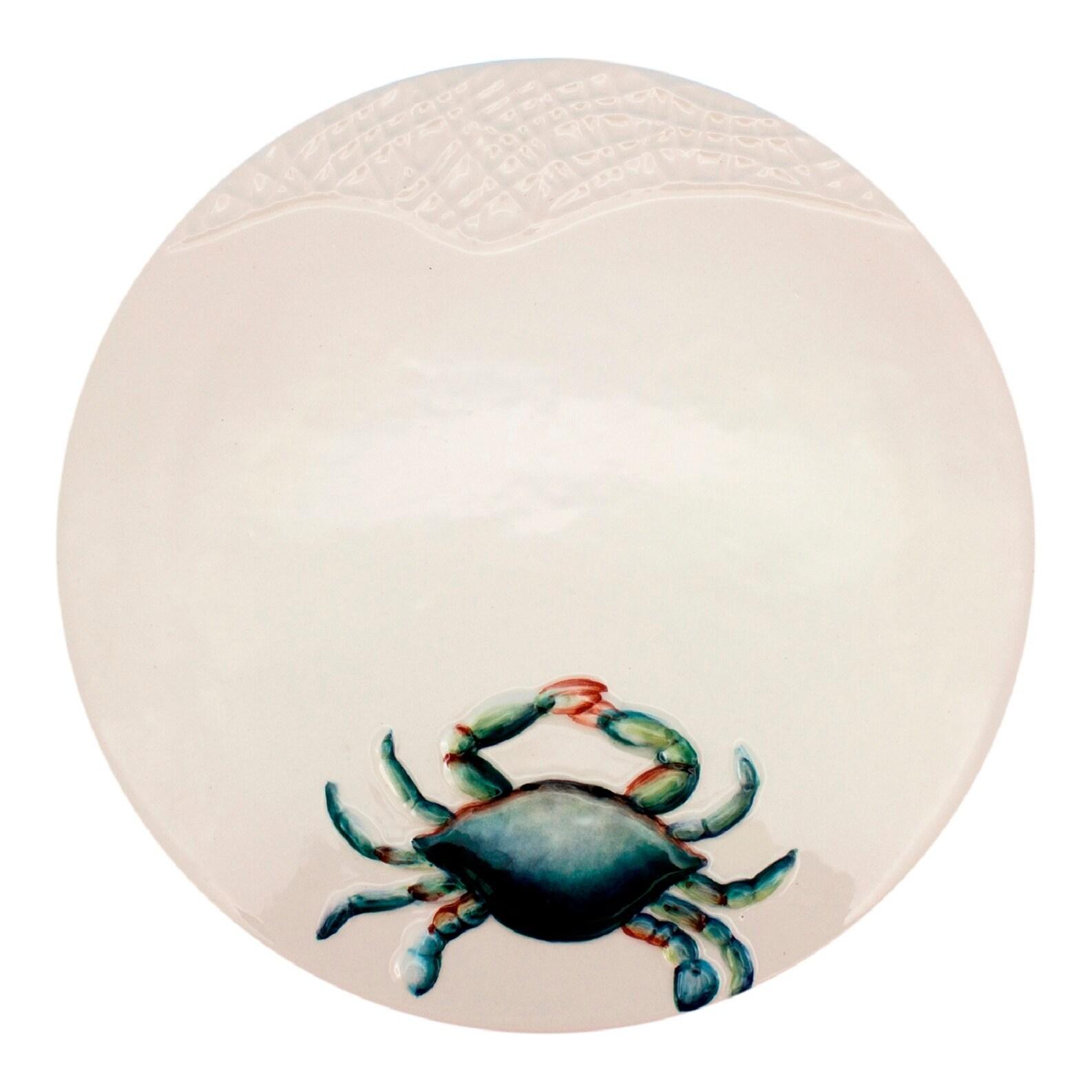 Coastal Blue Crab on White Trivet Kitchen Dining Table 7 Inch Ceramic