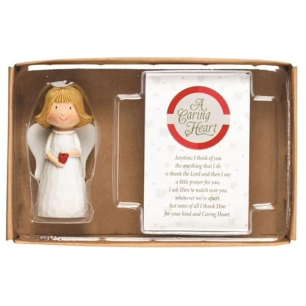 """3"""" White and Red Religious Themed Angel Figurine with Blessing Card Gift Set - N/A"""