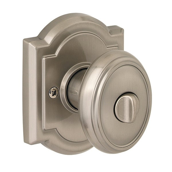 Baldwin 353CYK-ARB Carnaby Privacy Knobset with Arched Rosette from the Prestige Collection - Satin Nickel