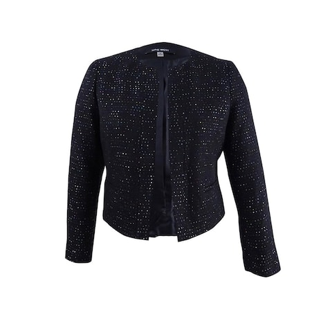 Nine West Women's Plus Size Sequined Tweed Blazer - Black Multi