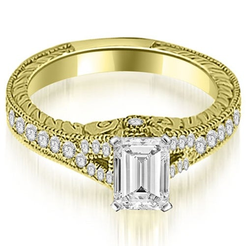 1.00 cttw. 14K Yellow Gold Antique Emerald Cut Diamond Engagement Ring