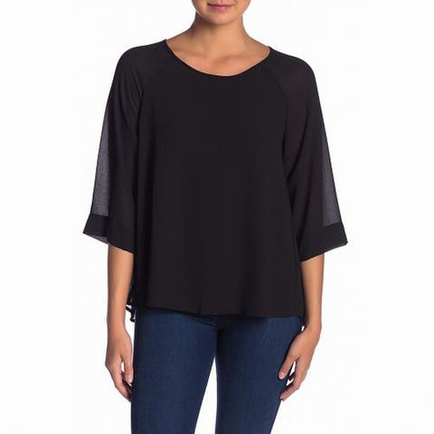 Bobeau Women's High Low Semi-Sheer Scoop Neck Blouse