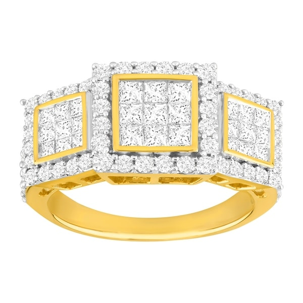 2 ct Pavé Diamond Trio Ring in 14K Gold