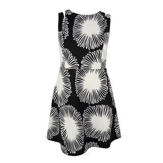 Kensie Women's Floral Print Fit & Flare Dress - Black/White