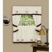 Cuppa Joe Brown Embellished Cottage Kitchen Curtain Set - 58x36 & 58x36 Inches - N/A