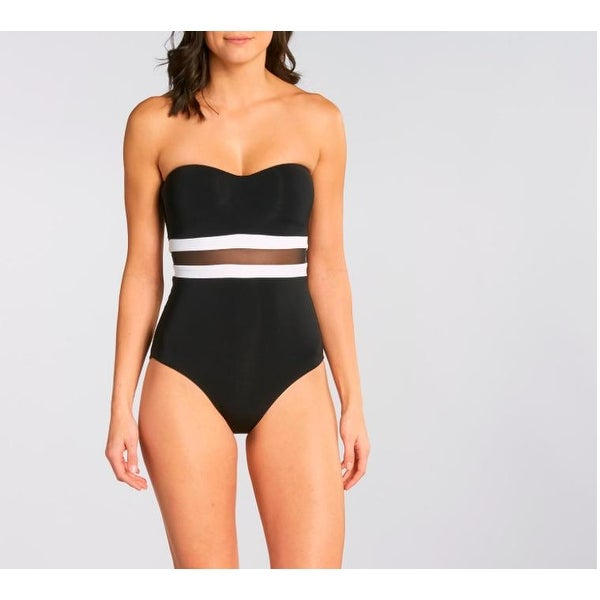 04b43c6041 Shop JETS by Jessika Allen Women's Classique Bandeau One-Piece Black/White  US SZ 12 - Free Shipping Today - Overstock - 27068297