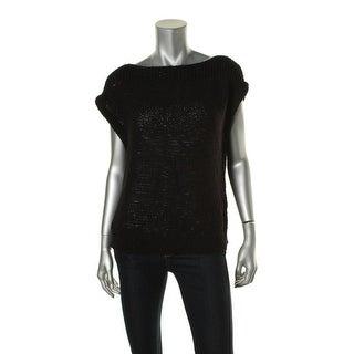 Ralph Lauren Womens Ribbed Trim Sleeveless Pullover Sweater