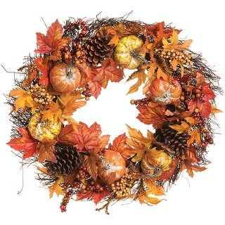 "Maple Leaf Pumpkin Pinecone Wreath 26""-"