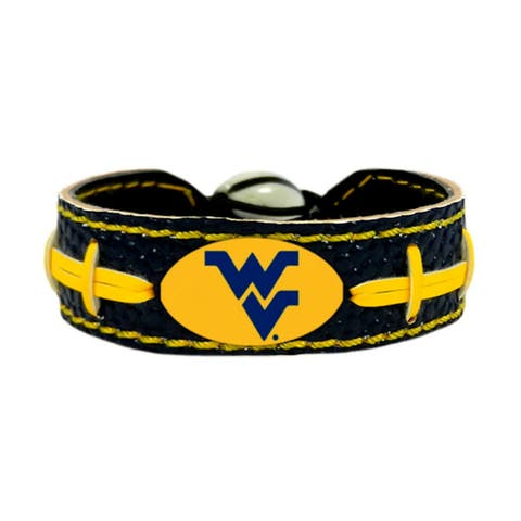 West Virginia Mountaineers Team Color NCAA Gamewear Leather Football Bracelet