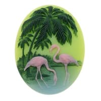 Lucite Oval Cameos - Green With Pink Flamingos And Palm Trees 40x30mm (1)