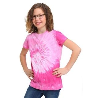 Women's Pink Spiral Tie-Dye T-Shirt