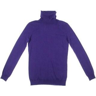 Ralph Lauren Womens Ribbed Trim Silk Blend Turtleneck Sweater - XS