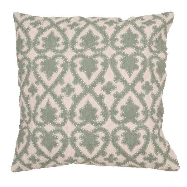 "22"" Fern Green and Oatmeal Cotton Floral Pattern Indoor Decorative Throw Pillow"
