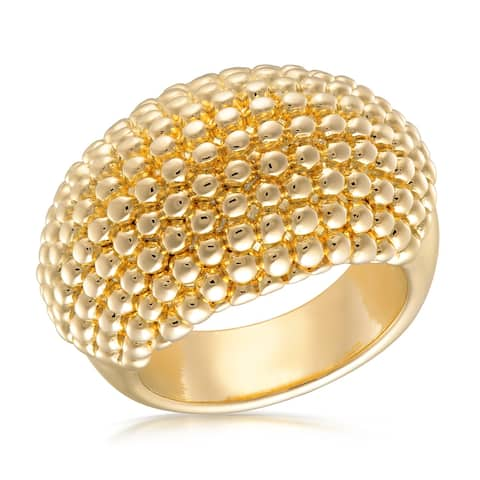 Forever Last 18 kt Gold Plated Women's Textured Dome Ring