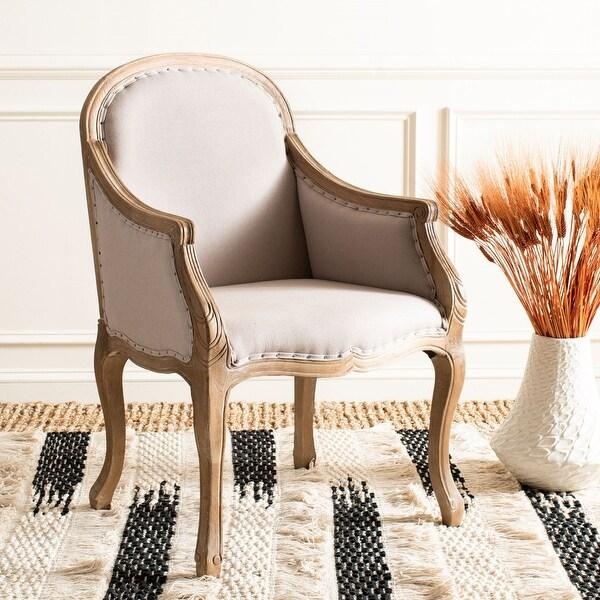 Safavieh Dining Old World Arles Beige/ Antiqued Oak Finish Nailhead Arm Chair