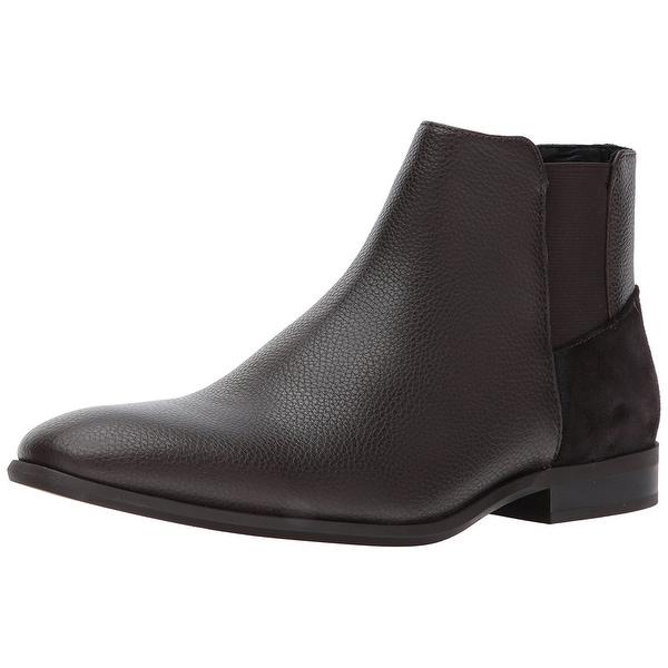 Calvin Klein Men's Larry Tumbled Leather Ankle Bootie, Dark Brown, Size 11.5